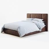 RH leather platform bed