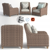 Wicker rattan sofa armchair