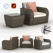 Wicker rattan sofa armchair + lamp table