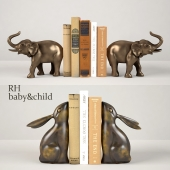 ELEPHANT AND BUNNY BOOKENDS RH