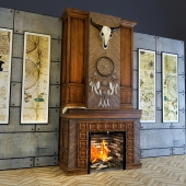 Fireplace with a buffalo skull and a dream catcher