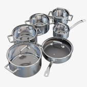 A set of stainless steel saucepans. Queen Ruby Company