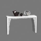 White Cement and White Rock Salt Console by Fernando Mastrangelo