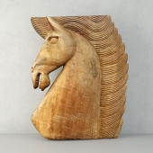 Large Wood Carved Horse Head