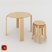 Table and stool skandi