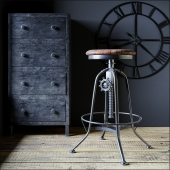 Industrial Clock House backless stool