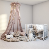 A cozy set for a children's room with a canopy, a cot IKEA Gulliver and a fluffy rabbit.