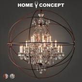 Crystal chandelier with a large gyroscope, Gyro Crystal Chandelier Large