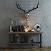 Decorative set with a deer skull