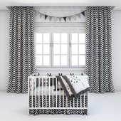 Set for baby - crib Ikea and curtains
