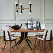 Trocadero wood dining table, Camille dinning chair, Caracas Six-light chandelier, Vases, Flying bird