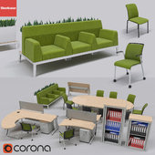 Collection of office furniture from the brand steelcase,