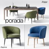 Chair and table Porada