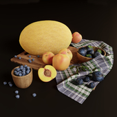 Decorative set with plums