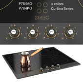 smeg P764PO, smeg P764AO cream, anthracite, accessories brass / hob, 60 cm, ceramic, cortina, anthracite, cream, old brass finishing