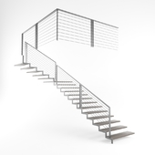 Modern Wooden Staircase with Metal Handrail