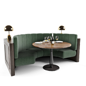 Booth seating with table and lamps