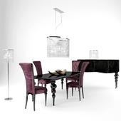 Purple dinner chair & table