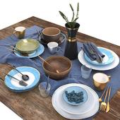 Столовый набор | Blue and brown table set