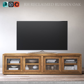 RECLAIMED RUSSIAN OAK GLASS MEDIA CONSOLE