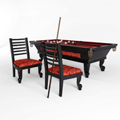 Billiard table and chair in the billiard room