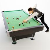 American billiard table, billiard player