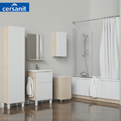 """A set of bathtubs and furniture """"Smart"""" with curtains """"Easy"""" and soft curtains, tm Cersanit"""
