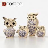 Ceramics Owls Family