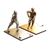 hockey players sculpture metal