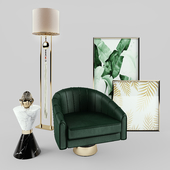 Essential Home Bogarde Armchair, Vinicius side table + Frato Lamp