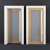 White Wooden Glass Door