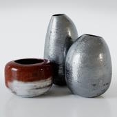 Metal vases aged
