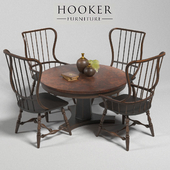 Hooker Furniture Dining Room Sanctuary Spindle Back Side Chair, Arm Chair-Ebony, Table - Ebony & Copper,