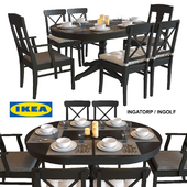 Table and chairs IKEA INGATORP / INGOLF