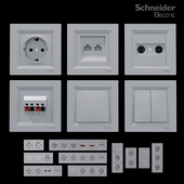 Sockets and switches Schneider Asfora Aluminum.