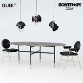 Bontempi Glamor table, Penelope chair, Gubi Multi-Lite