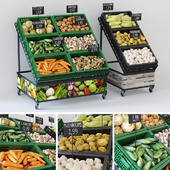Racks with vegetables
