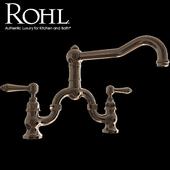 Rohl Country Kitchen Deck Mount Column Spout Bridge Kitchen Faucet