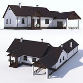 Одноэтажный  дом с гаражом и верандой