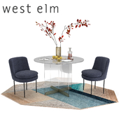 West Elm Calliope Table Modern Curved Chair