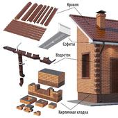 Набор элементов для создания кирпичного дома