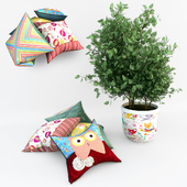 Decorative set of pillows with ficus