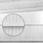 Wooden ceiling with beams (white wood)