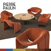 Pierre Paulin f-582, f-598 chairs, John Richard round brass table