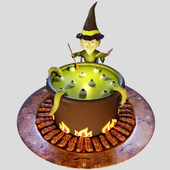 "Cake ""Witch"" with mastic"