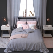 Set of bed linen with decor