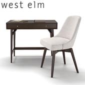 West Elm Mid-Century Mini Desk - Dark Mineral and Swivel Office Chair