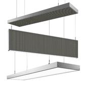 Acoustic panels, hanging elements, lamps.