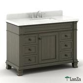 double sink wooden vanity with Alpine Mist top