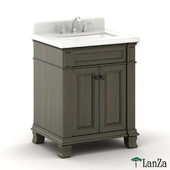 single sink wooden vanity with Alpine Mist top